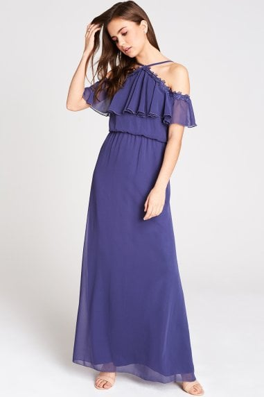 Marnie Blue Cold Shoulder Maxi Dress