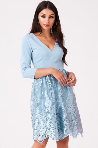 Clarita Blue Embroidery Prom Dress