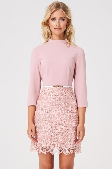 Fulham Pink Lace Shift Dress