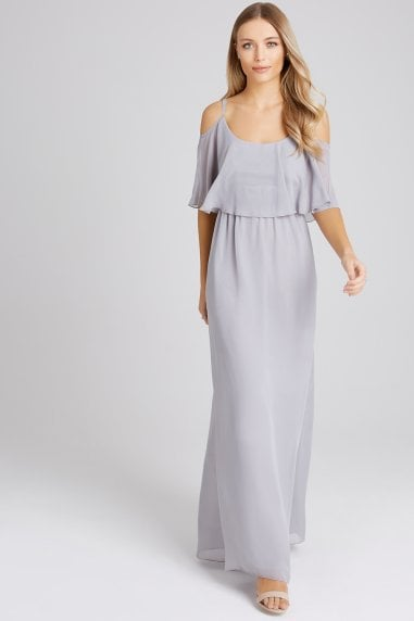 Motion Grey Chiffon Cold Shoulder Maxi Dress