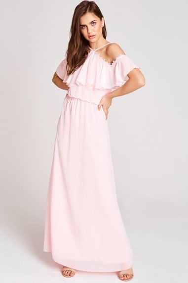 Marnie Pink Cold Shoulder Maxi Dress