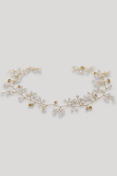 Gold Pearl And Diamanté Hair Vine