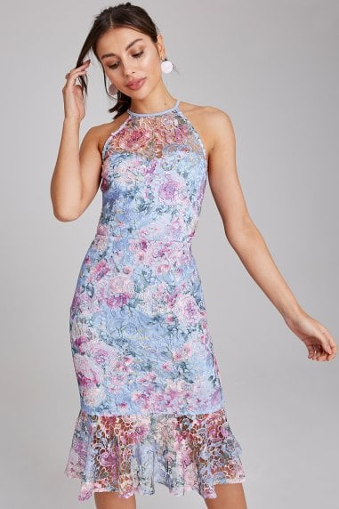 Britten Blue Floral Lace Peplum Dress