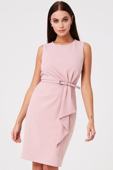 508b714c82 Motcomb Pink Pleat Detail Pencil Dress