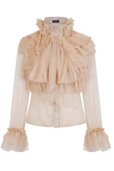 Lesa Beige Frill And Pussybow Blouse