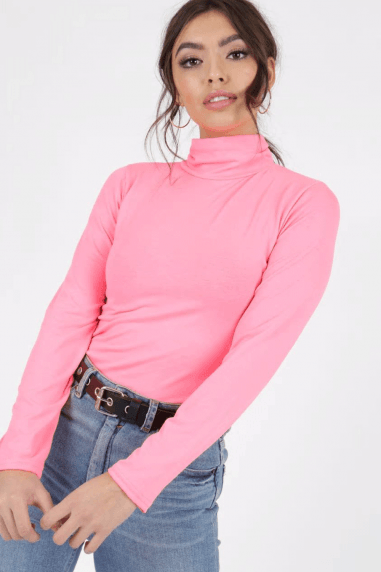 Ipso Neon Pink Polo-Neck Top