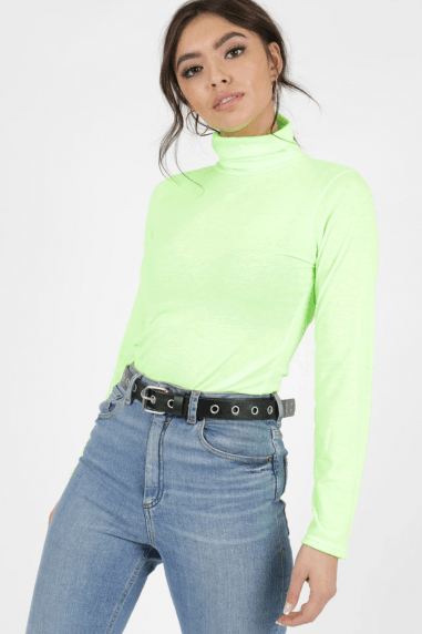 Ipso Neon Green Polo-Neck Top