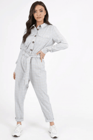 Bendix Grey Check Utility Jumpsuit