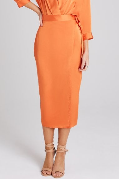 Myrtle Orange Satin Midi Skirt Co-ord