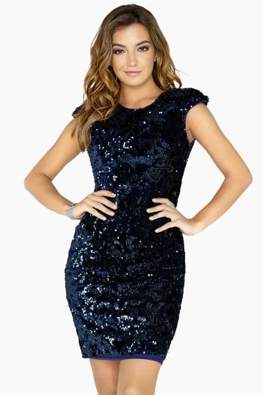 Alfre Velvet Sequin Low Back Dress
