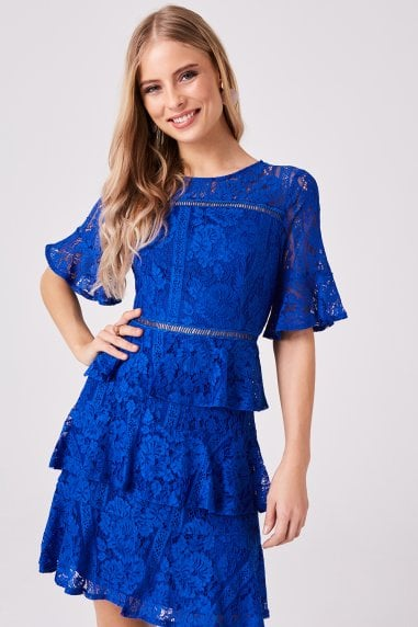 Bibi Cobalt Tiered-Lace Shift Dress