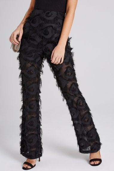 Sade Black Fringe Trousers