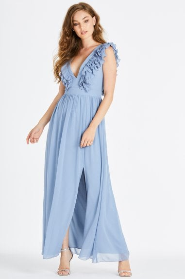 Amina Blue Plunge Frill Maxi Dress