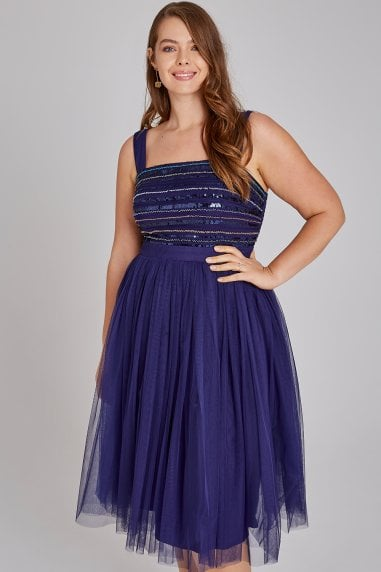 Drew Navy Hand-Embellished Midi Prom Dress