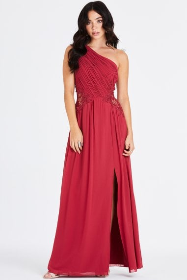 Nadja Red One Shoulder Lace Maxi Dress