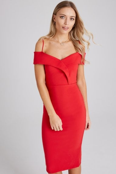 Pose Red Foldover Bardot Midi Dress