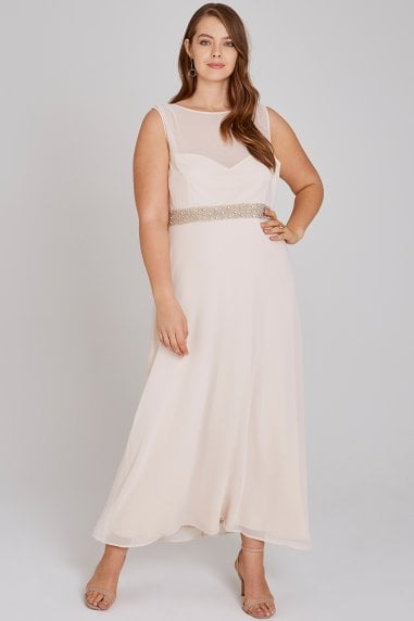 Nadine Blush Hand-Embellished Sequin Cowl Back Maxi Dress