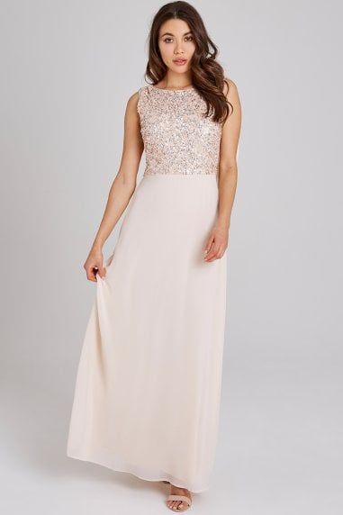 Luxury Nadine Nude Hand-Embellished Sequin Cowl Back Maxi Dress