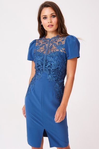 Dahlia Blue Crochet Lace Dress
