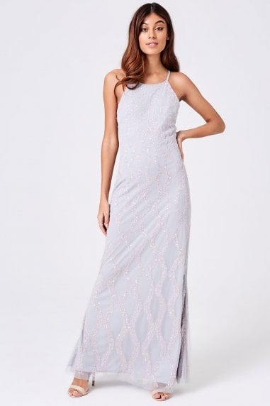 Luxury Yaz Grey Hand Embellished Maxi Dress
