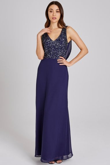 Luxury Ines Navy Hand-Embellished Sequin Maxi Dress