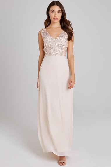 Luxury Ines Nude Hand-Embellished Sequin Maxi Dress
