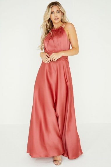 Kathy Terracotta Lace Satin Maxi Dress