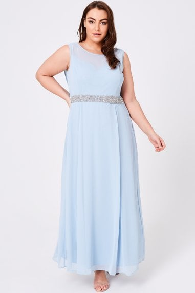 Luxury Nadine Blue Hand-Embellished Sequin Cowl Back Maxi Dress