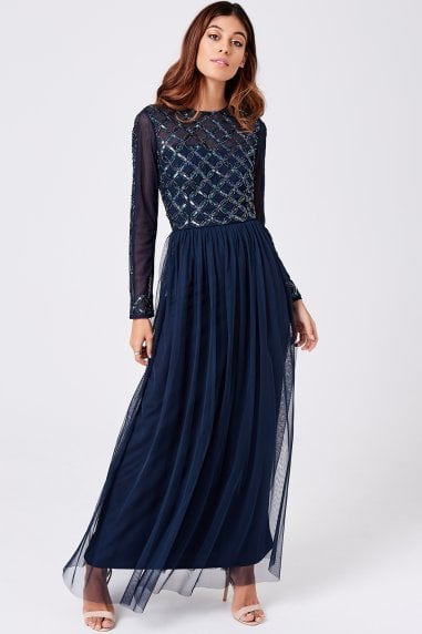 Luxury Natasha Navy Hand-Embellished Sequin Maxi Dress