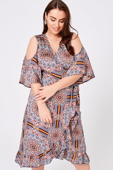 Calix Tile-Print Wrap Midi Dress
