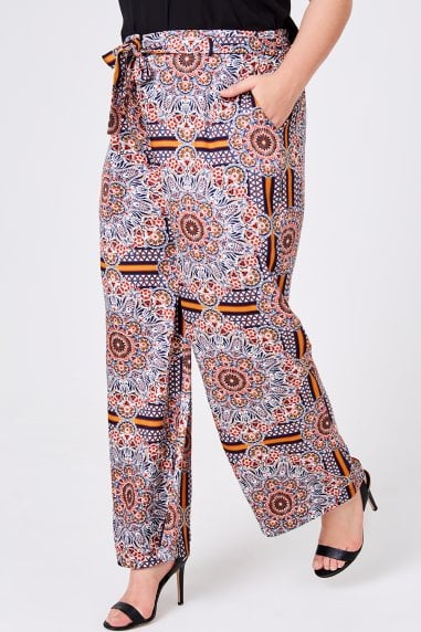 Tile-Print Wide-Leg Trousers