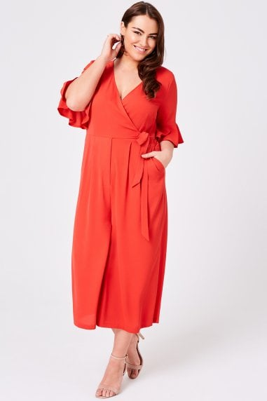 Bittersweet Red Wrap Jumpsuit