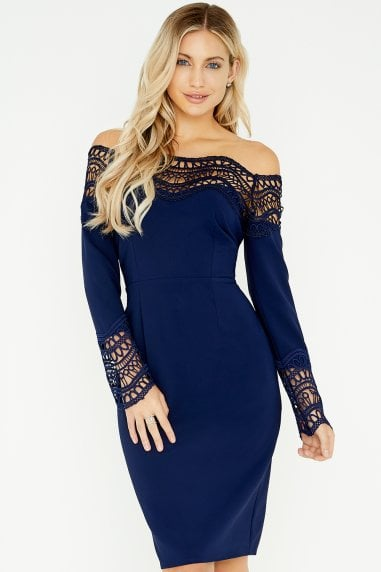 Gaby Navy Crochet Lace Bardot Dress