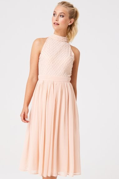 Luxury Charli Nude Hand Embellished Midi Dress