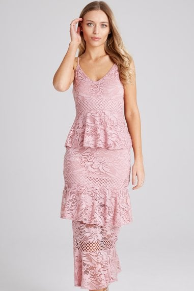 Born Dusty Pink Tiered-Ruffle Midi Dress
