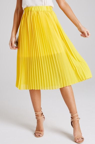Luca Yellow Pleated Midi Skirt