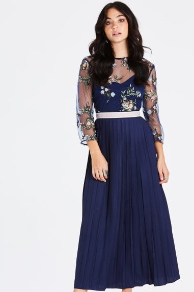 Maja Navy Floral Midaxi Pleat Dress
