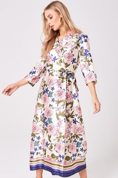 Edessa Floral-Print Satin Midi Wrap Dress