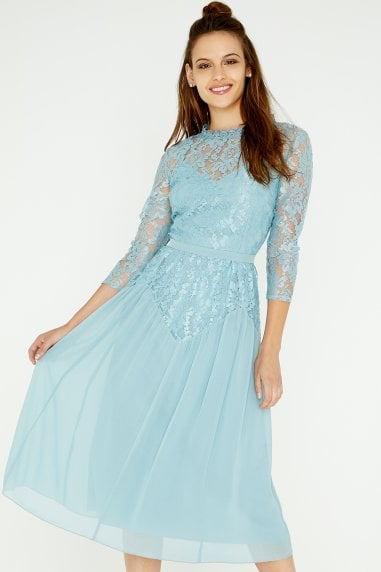 Clarita Blue Lace Midi Dress