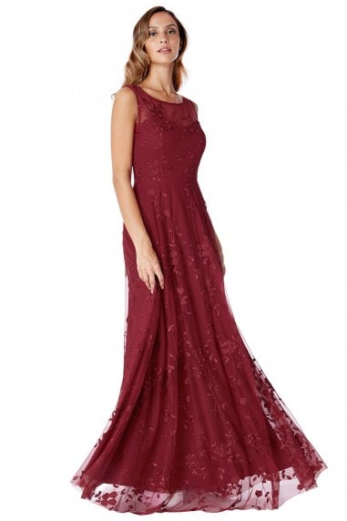 Wine Mesh Embroidered Maxi Dress