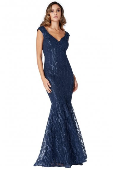 Navy Sweetheart Neck Mermaid Maxi Dress