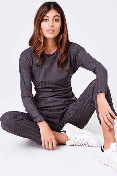 Libertine Grey Ribbed Loungewear Set