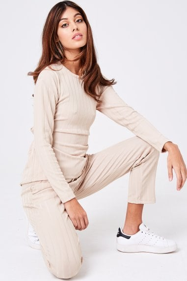 Libertine Oatmeal Ribbed Loungewear Set