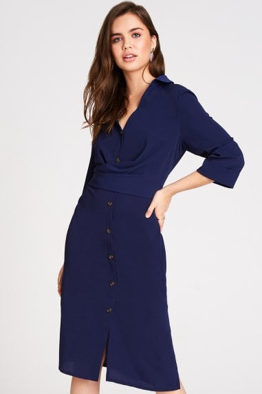 Brielle Navy Button Front Midi Shirt Dress