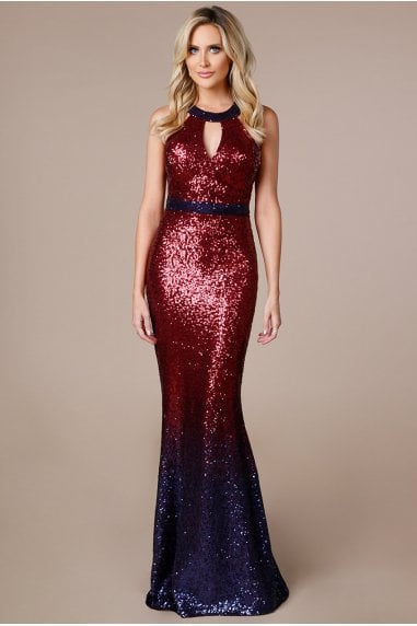 Stephanie Pratt Wine Ombre Halter Neck Sequin Maxi Dress