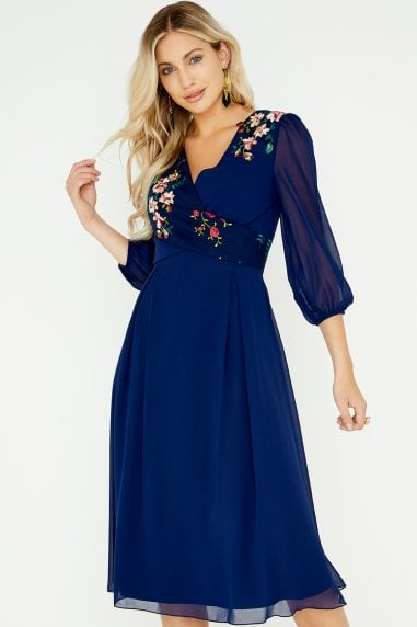 Tara Navy Floral Embroidery Midi Dress