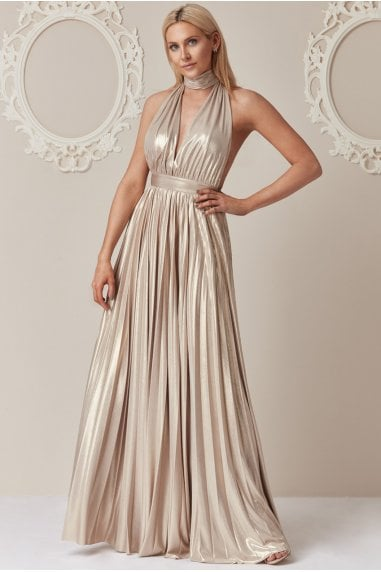 Stephanie Pratt Gold Deep V-Neck Metallic Maxi Dress