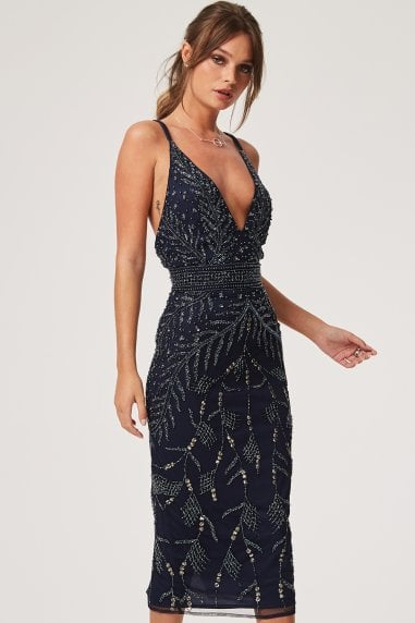 Maisie Navy Hand Embellished Plunge Dress
