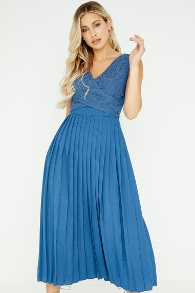Margot Blue Lace Pleated Midaxi Dress