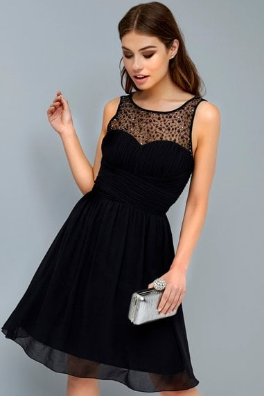 Grace Black Embellished Neck Midi Dress